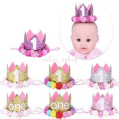 Baby First 1st Birthday Sparkly Party Crown Rose Flowers Princess Tiara Headband