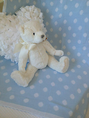 Blue Polka Dot Baby Boys 100 % Cotton Cot Pram Blanket Wrap