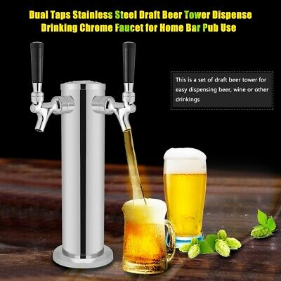 Double 2 Tap Stainless Steel Draft Beer Tower Kegerator Chrome Faucets Silver
