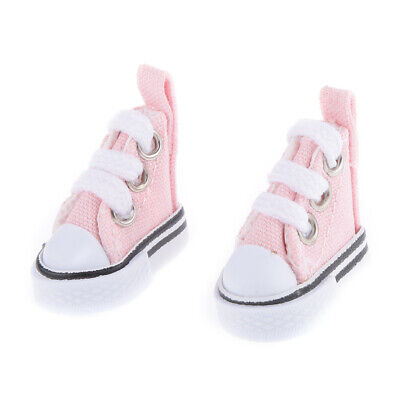 Pair of 3.5cm Pink Lace Up Canvas Shoes for 1/6 Blythe Momoko Dolls