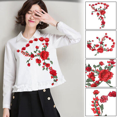 Red Rose Embroidery Flower Sew Iron On Patch Badge Bag Jean Dress Applique Craft