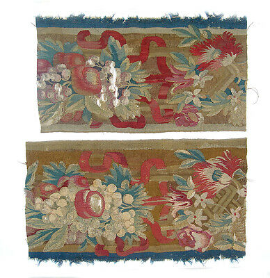 Two Antique Tapestry Fragments with Fruits & Flowers