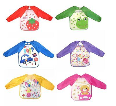 Long Sleeve Waterproof Baby Children Boy Girl Feeding Apron Bib Variety Designs
