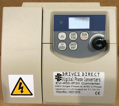3 HP 240V to 415V DIGITAL PHASE CONVERTER for 3 Phase 415V Workshop Machines