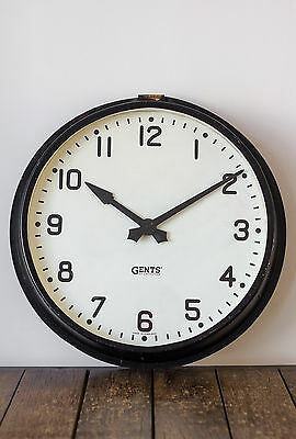 "Large 18"" Vintage Industrial Gents of Leicester Factory Station Wall Clock"