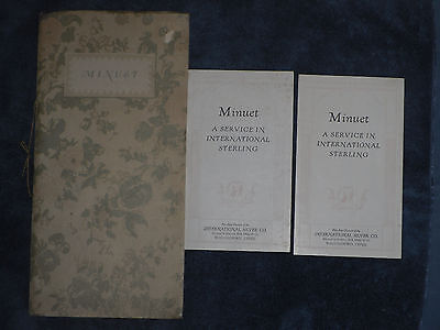 Vintage 1929 International Silver Company Booklet & Price Guides Minuet Pattern