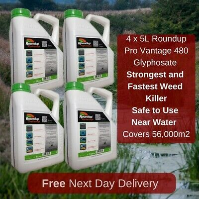 4 X 5L Roundup Pro Vantage 480 Strongest Weed Killer Available On The Market New
