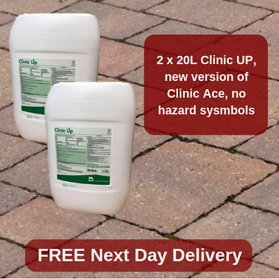 20Lx2 INDUSTRIAL STRENGTH GLYPHOSATE CLINIC ACE WEEDKILLER KILLS ALL GREEN WEEDS