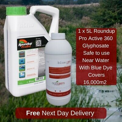 5L Roundup Pro Active 360 Strong Industrial Weed Killer With Dye Weeds