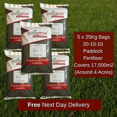 5 x 25KG PADDOCK FERTILISER 20-10-10 HORSE PONY FIELDS PROMOTE GRASS GROWTH NPK