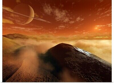 Poster Print Wall Art entitled Dark dunes are shaped by the moons winds on the