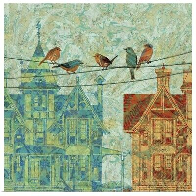 Poster Print Wall Art entitled Birds on a Wire - Cityscape