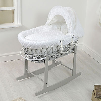 Quality Grey Wicker / White Dimple Padded Baby Moses Basket Carry Cot