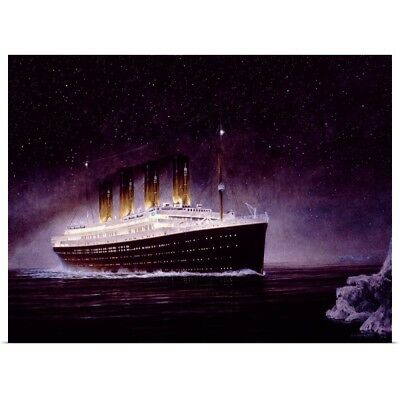 Poster Print Wall Art entitled RMS Titanic Night