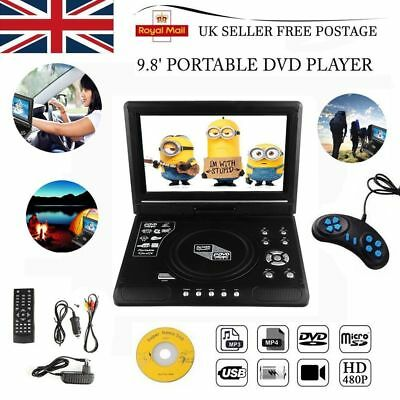 "11"" Inch Portable DVD Player Rechargeable Swivel Screen In Car Charger USB 12V"