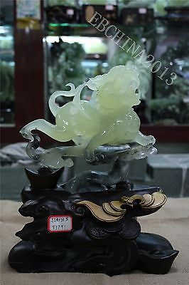 "9.6"" Collect China 100% Natural Xiu Jade Green Jade Jadeite Carved Pixiu Statue"