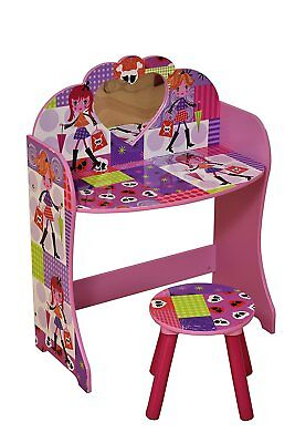 Childrens Dressing Table Wooden Mirror Fashion Girl Pink Stool