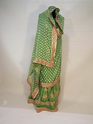 Indian Gold green sari wedding dress Bollywood Lehenga Choli Wedding Bridal free