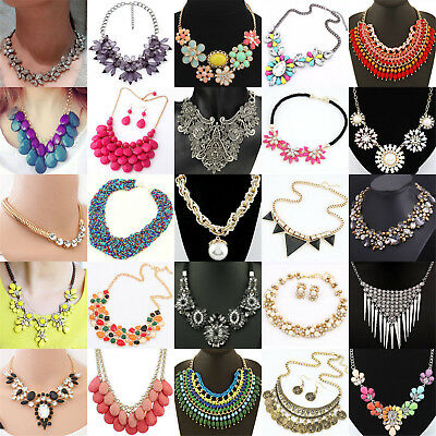Fashion Womens Bib Flower Crystal Pendant Statement Chain Chunky Choker Necklace