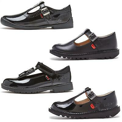 Kickers Kick T-Bar Classic Kids Back to School Shoes in Black & Patent Black