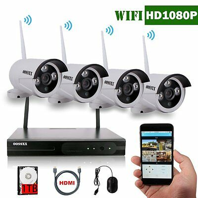 OOSSXX 4CH 1080P HD Wireless Video Security Camera System,4PCS 960P Megapixel Wi