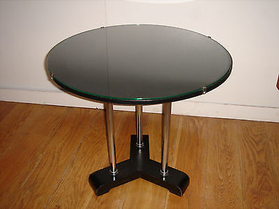 Vintage Designer Coffee Table Black & Crome with tempered Glass top