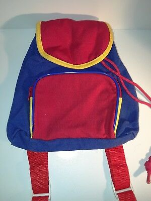 Childrens Blue Yellow Red Drawstring Knitted Backpack