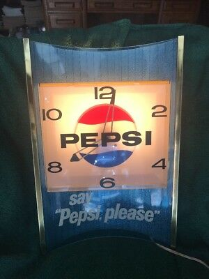 Vintage Pepsi Light-Up Wall Clock 1960's