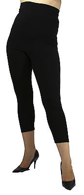 Maternity Black Ankle Leggings Solid Pregnancy Over Belly Bottoms  S M L XL