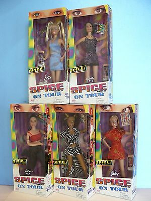 "The SPICE GIRLS On Tour (1998) COMPLETE SET Of 5 DOLLS- GALOOB ""GIRL POWER"" NEW"