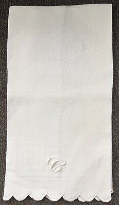 "Antique c 1900 ""C"" Monogram White on White Dish / Hand Towel 28"" x 15.5"""