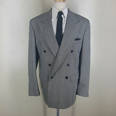 Boys Barneys Ny Vtg Made In U.s.a. Double Breasted Wool Suit Pleated Pants 20 R