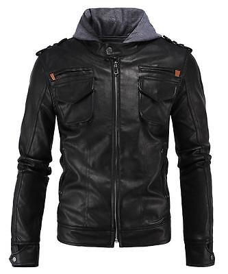 Aowofs Mens Urban Motorcycle Leather Jacket Slim fit Cafe Racer