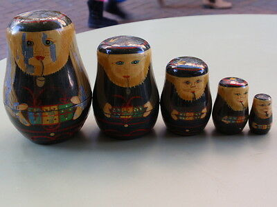 Vintage Continental National Costume Pipe Smokeing 5 Russian Dolls
