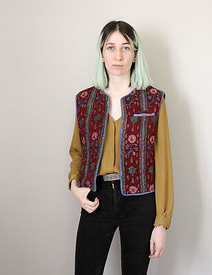 Vintage 70s Indian Cotton Block Print Quilted Waistcoat/Vest - Small 6 8 10