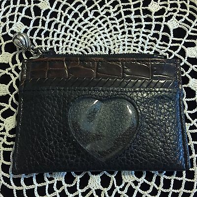 BRIGHTON SMALL ID COIN PURSE WALLET - Leather - Black and Brown NWOT Silver Pull