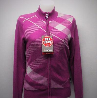 New Ladies SMALL Sunice Pro Sport Alicia Windstopper Wool Golf Sweater violet