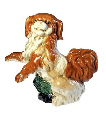 Large Hand Painted Art Pottery Pekingese Dog Oriental Sculpture Chinese
