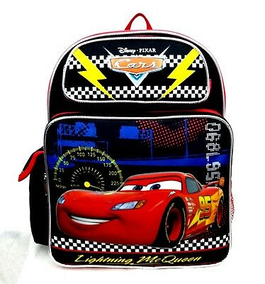 "Disney Pixar Cars Boys 14"" Canvas Black & Red School Backpack Lightning McQueen"