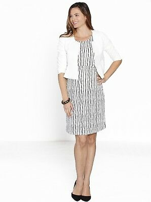Lady in White - Maternity Fitted Dress & Cropped Jacket Work Outfit