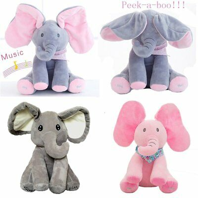 Peek-a-boo Elephant Baby Plush Toy Cute Singing Stuffed Animated Kids Soft Gift^