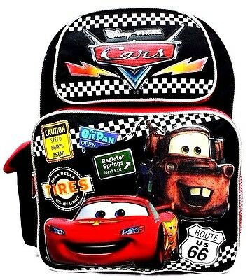 "Disney Pixar Cars Boys 14"" Canvas Black & Red School Backpack - Multiple Signs"