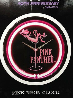 Pink Panther 40th Anniversary Round Wall Pink Neon Clock by Shag Rare 2004 MGM