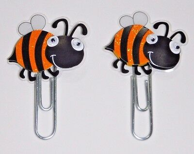 Bumble Bee Planner Clips Set of 2 Handmade for Book Markers Planners Paper Clips