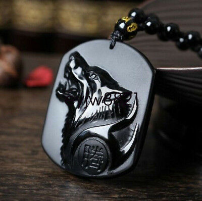 Chinese natural obsidian hand carved Wolf head lucky pendant+Beads Necklace NR03