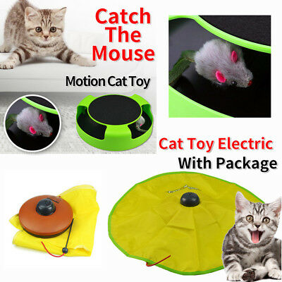 Electronic Interactive Meow Cat Toy Fabric Moving Mouse Play Training TOY