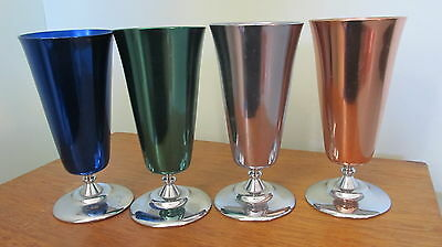 Vintage Retro Peacock Ware Stokes Melbourne Anodised Champagne Flutes Set of 4