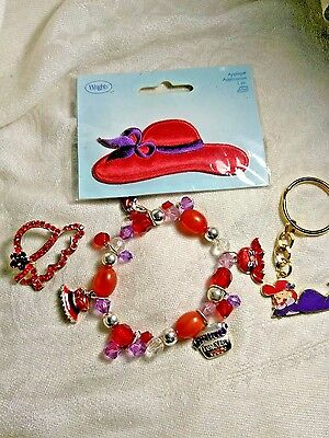 Red Hat Society Lot Pin Patch Bracelet Keychain
