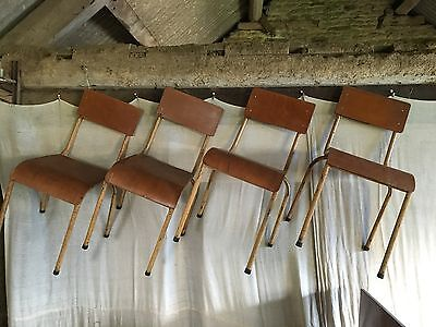 Set Of 4 Stacking School Chairs Retro Vintage Metal Chairs
