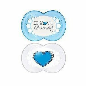 MAM Style I Love Mummy Soothers (6 Months+Blue & White)